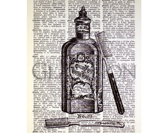 Queen Mary Tooth Wash Print on a Vintage Dictionary Page