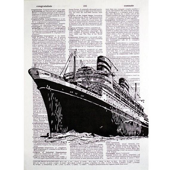 Ocean Liner Print on a Vintage Book Page