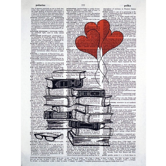 Book Lovers Stack Printed on a Vintage Dictionary Page