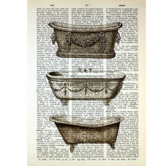Vintage Bathtub Trio on an Antique Book Page