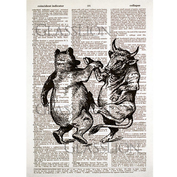 Stock Market Bull and Bear Print on a Vintage Dictionary Page