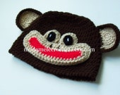 Newborn to Adult Crochet Monkey Hat- Made to Order