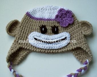 Sock Monkey Hat with Flower