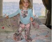 Lyla Girls Ruffle Pants Tuxedo Tee Shirt Set, Custom Sizes 12 M through 5T