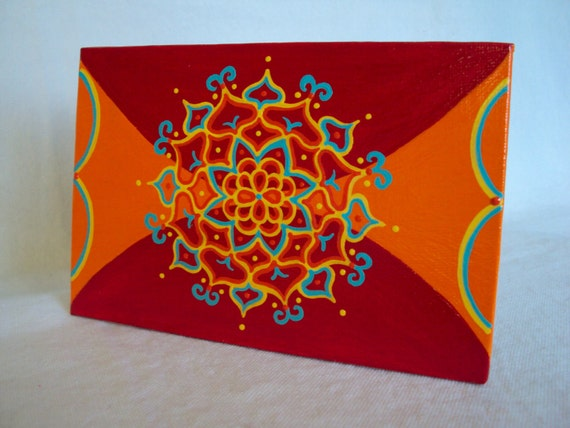 "Mandala Painting 4""x6"" on canvas board  Orange Red Blue Yellow"
