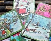 11 Vintage Two Sided Coaster with Christmas & Floral Scenes