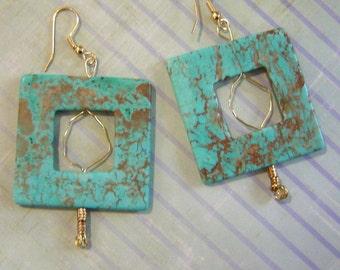Aqua N Gold Earings