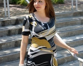 Jersey Mini Dress Abstract Fitted  - custom size