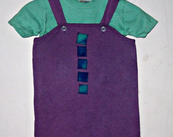 Purple Overalls 18 Months Cotton Knit Hand Dyed