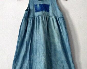 Size 6 girls  Beach Aqua Blue Sundress Hand Dyed Tie Dyed Applique