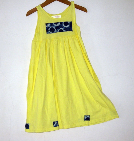 Beach Dress  girls 6 Cotton, Banana Yellow size 6, OOAK