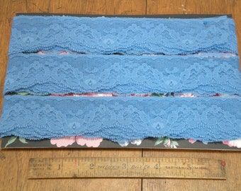 Lace Soft Blue Nylon Raschel Lace 10 Yards