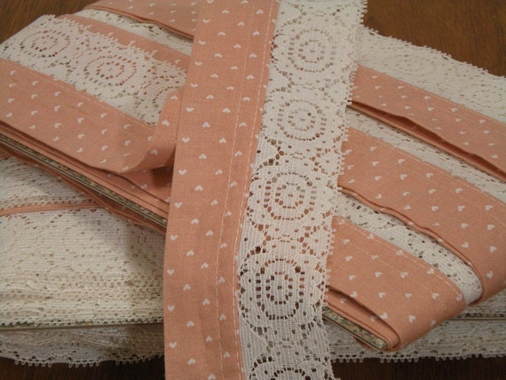RESERVED FOR AMANDA Peach and Lace Trim Almost 30 Yards Treasury Item