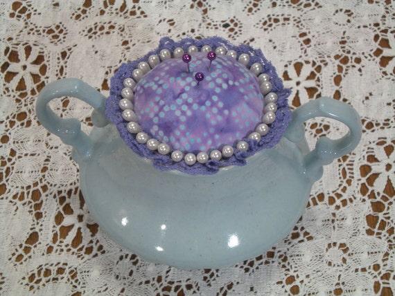 Pincushion Handmade SugarCushion Vintage Sugar Bowl