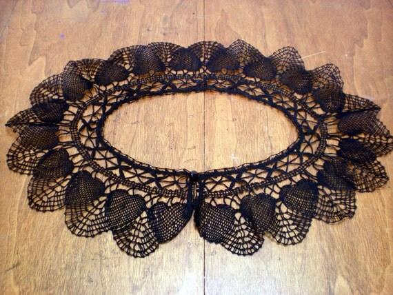 Black Lace Collar Vintage Handmade Crochet