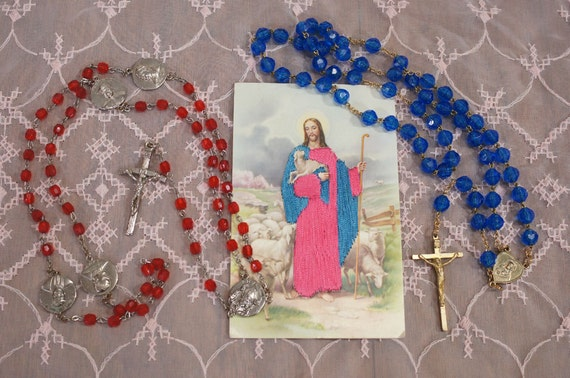 Rosaries Lot of Two Plus Good Shepherd Satin Stitch Postcard