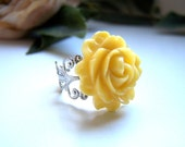 the yellow rose ring in silver.