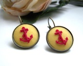 Anchor Cameo Dangle Earrings