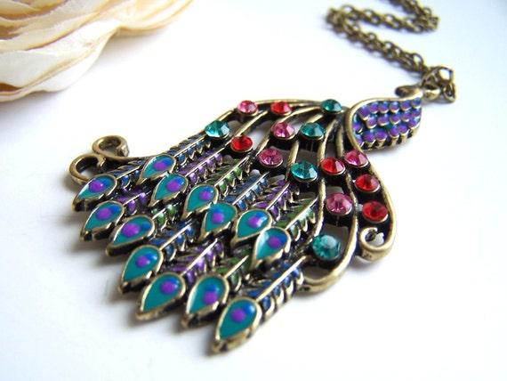 the rhinestone peacock necklace.