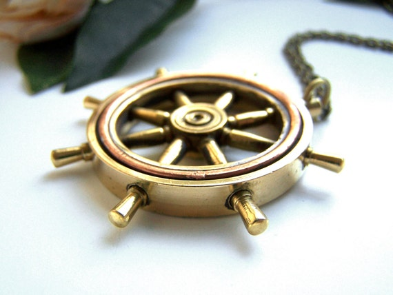"""Raw Brass Helm Necklace - Nautical Ship Wheel, 30"""" Long Chain, Nickel and Lead Free, Antique Bronze Chain, Unique Pendant, 50mm"""