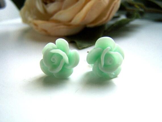 Mint Green Camille Stud Earrings