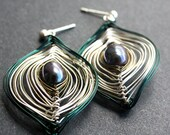 Silver and Dark Teal Peacock Earrings Small or Large Free US Shipping