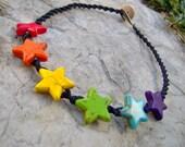 Hemp Necklace - Hemp Jewelry - Rainbow Stars Black Hemp Necklace- Rainbow Necklace