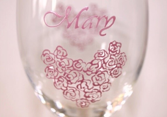 Hearts Roses Wine Glasses Hand Painted Personalized Flowers Valentine's Mother's Day Love Wedding Bride Cotton Candy Bubble Gum Frost Pink