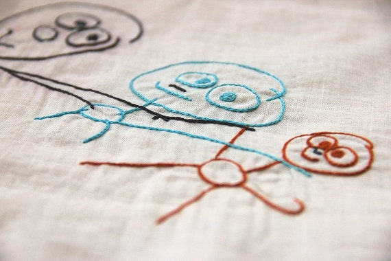 RESERVED... Your Child's Artwork Embroidered on a Vintage Handkerchief