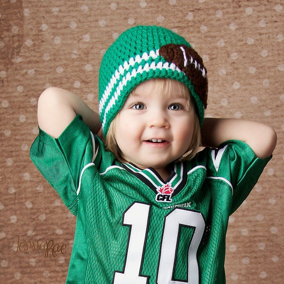 Crochet Football Patch Baby Hat- Customize to Your Team Colors