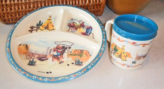 vintage cowboys and indians plate and cup melmac melamine pecoware kids western theme snack set horse ranch roping