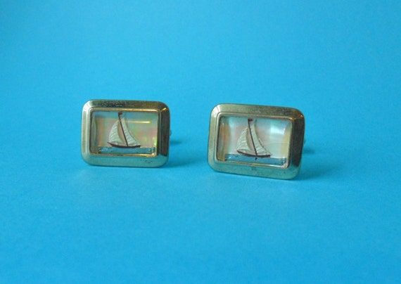 vintage cuff links with yachts cloisonne