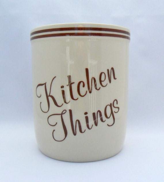 RESERVED FOR DONNA F.  vintage kitchen utensil holder kitchen things ceramic holder cream and brown retro kitchen decor