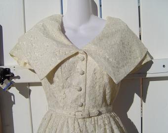 1950s Jay Herbert Lace Full Skirt Dress