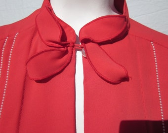 Sheer Lipstick Red Secretary Rockabilly Blouse