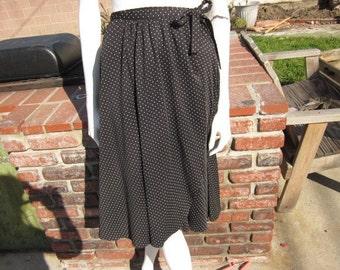 SALE  High Waist Black With White Pokadot Wrap Skirt