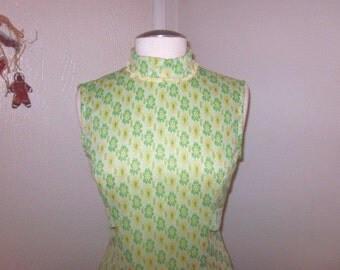 1960s Green & Yellow Flower Mini Dress