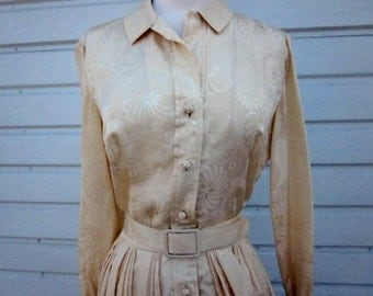 Beige Silk Shirt Dress House of Gold