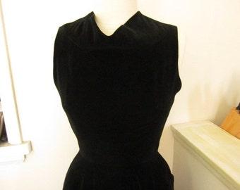 1950s Black Velvet Fitted Bodice Full Skirt Dress