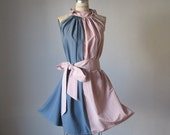 Dress Soft French Terracotta Pinkish and Dust Blue Dress