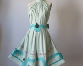 Dress / Taupe / Vintage lace / Ruffles / Romantic / Dreamy / Soft  / Sleeveless  / Mint green /Flowy / Delicate