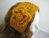 PDF Crochet Pattern - Striped Headwrap/Headband/Earwarmer with Carnation Flower - Patterns