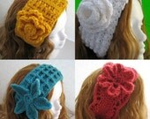 4 Earwarmer Crochet Patterns  for 12.99, Crochet Ear Warmer or  Headband Pattern,  Permission to sell