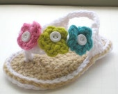 Crochet Pattern  Booties , Baby Flip Flops or Thongs for Girls, Crochet Pattern in 4 sizes( pdf pattern for sale)