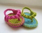 Crochet Pattern Baby Booties  , Flip Flops  for Girls, pattern in 4 sizes( pdf pattern for sale)