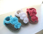 Crochet Pattern Baby Booties, Orchid Sandals (pdf pattern for sale)