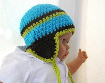 Crochet Pattern Hat , Newborn Baby to Adult,  Boy and Girl, Pdf Crochet Ear flap hat  pattern - Earflap Hat