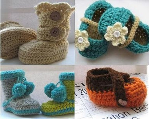 Crochet Patterns Baby booties, Any  2 for  for  7.99 , Crochet Baby Booties Patterns and More