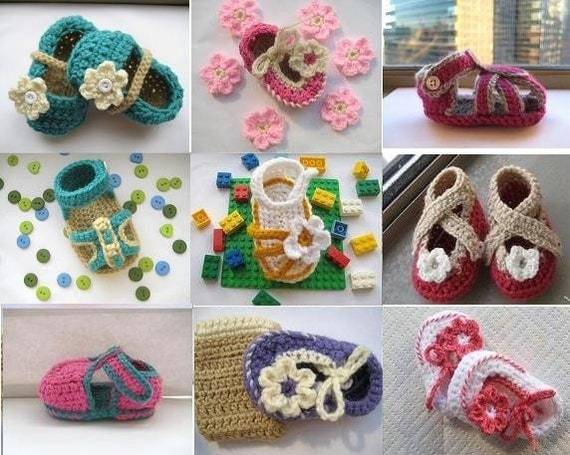 Crochet Patterns Baby Booties  -Any 3 for  11.99 ,  Crochet Baby Booties Patterns and More