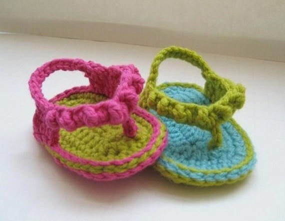 Crochet Pattern Baby Booties  , Flip Flops  for Girls, pattern in 4 sizes( pdf pattern for sale)